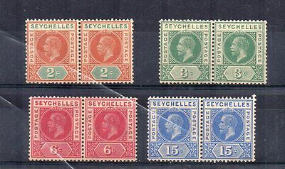 Seychelles 1912-16 values to 15c MNH pairs