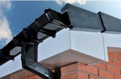 Black Square Line Guttering Rainwater System UPVC Eurocell All Parts Available