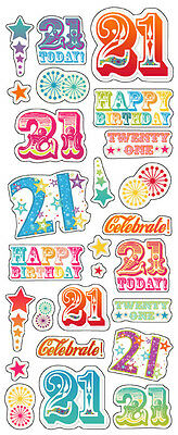 """Beautiful Fun Stickers """" 21St Birthday """" For Cards & Craft"""