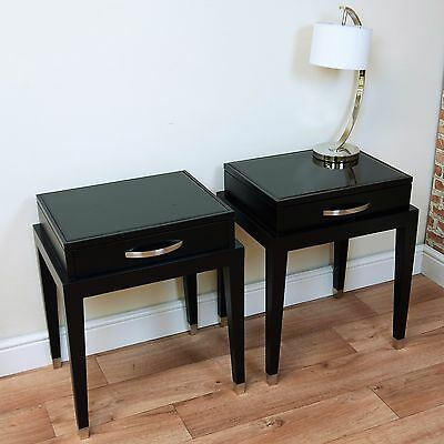 1 RV Astley Modena Contemporary Matt Black Bedside / Lamp / End Table Glass Top
