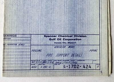 Gulf Oil Engineering Blueprint 4-1702-424 Pipe Support Details January 15, 1965