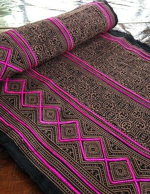 Vintage Style Hmong Batik handprint Textile Brown Boho Tribal Fabric Supply