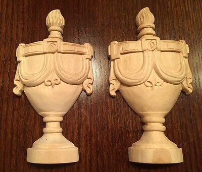 Hand Carved Small Urn - Lindenwood set of Two