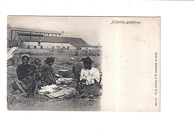 Vintage South African Ethnic Postcard.A family gathering