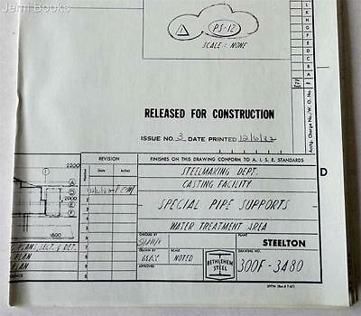 Bethlehem Steel Engineering Drawing 300F-3480 Special Pipe Supports 1982 VG
