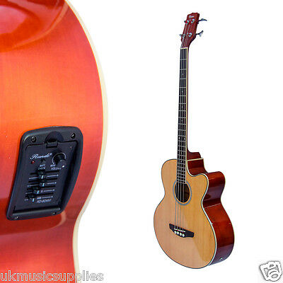 Coban Electro 4EQ SD1 Natural Gloss Acoustic Bass Guitar 20mm Gig Bag Package