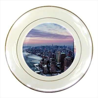 New York City Big Apple Usa Porcelain Plate w// Display Stand