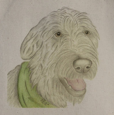 Irish Wolfhound Artwork on Canvas and Cotton Bags Black, Blue or Natural