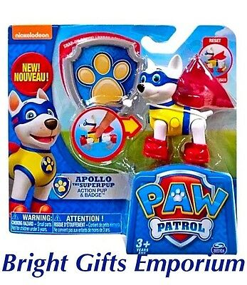 Paw Patrol Apollo Badge Action Super Pup Nickelodeon Skye Everest Boy Girl Gift