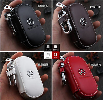 NEW Genuine Leather Car Key Holder Keychain Ring Case Bag 4colors for Mercedes