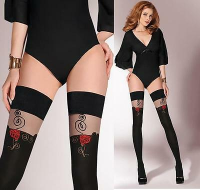 Hold-ups with red rose detail by Gabriella plain top