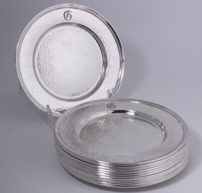 Wallace Sterling Silver Hammered Bread Plates Set of 12