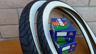 Two 24x2.125 Beach Cruiser WhiteWall Bicycle Tires & Inner tubes Road Chopper