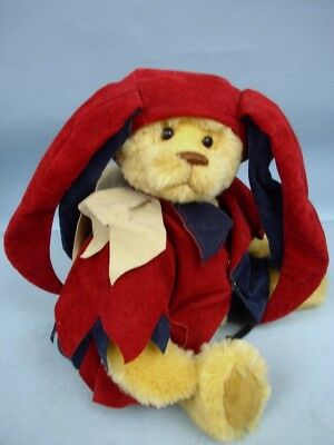 "15"" Gold Mohair Artist Bear Clothed As A Jester"