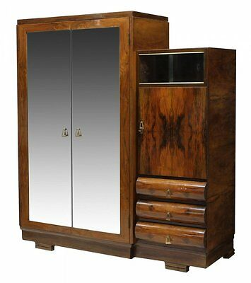 Italian Walnut Art Deco Armoire Antique