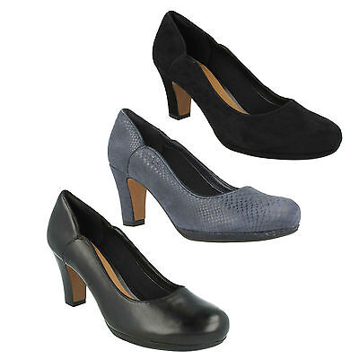 38319a422118 Chorus Nights Ladies Clarks Suede Leather Smart Slip On Wide Pumps Court  Shoes