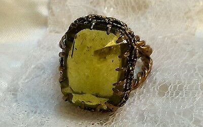 Signed WEST GERMANY Vintage Cocktail Ring Expansion Rope YELLOW CUT GLASS