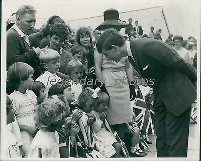 1969 Prince Charles Chats with Children on Island Original News Service Photo