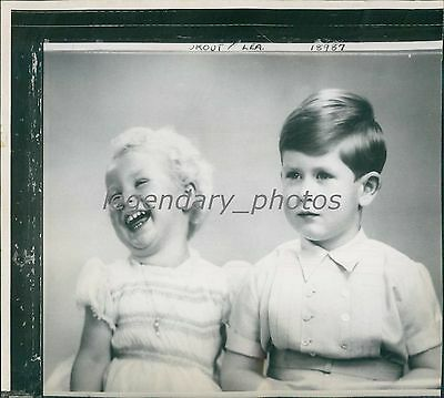 1952 Prince Charles with Sister Princess Anne Original News Service Photo