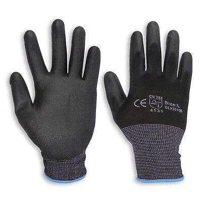 24 Pairs Safety Work Glove PU Coated Palm Mechanic General Purpose Gloves