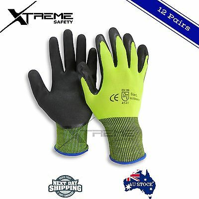 12 Pairs Safety Construction Gloves Nitrile Palm Mechanic Work Gloves HI VIS