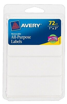 "Avery 06728 1"" X 3"" Rectangular White Removable Labels 72 Count,No 6728,PK6"
