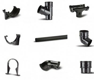 Black Half Round 112mm Guttering UPVC Eurocell Rainwater System 68mm Downpipes
