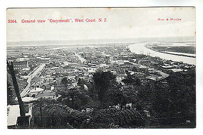 General View - Greymouth New Zealand Photo Postcard c1910