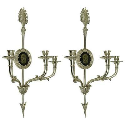 Pair Antique Neoclassical Adam Style Silvered Bronze Sconces