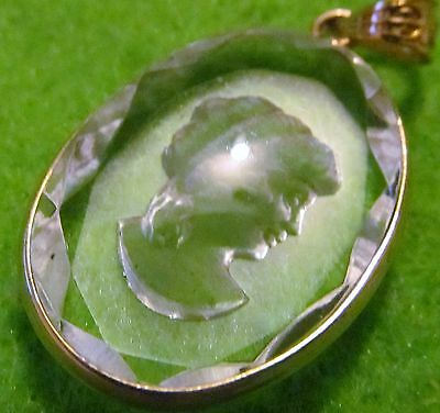 Antique Vintage Victorian Style 18K Solid Gold Rare Egyptian Intaglio Camero Fob