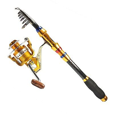 Supertrip TM Spin Spinning Rod and Reel Combos Telescopic Fishing Rod & Reel ...