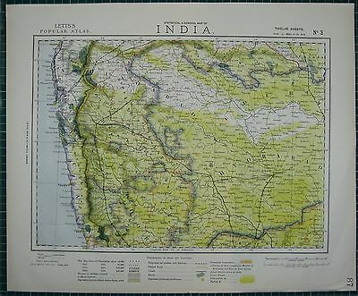 1883 Letts Map ~ India Eastern Sheet ~ Japoor Hydrabad Bombay Beeder
