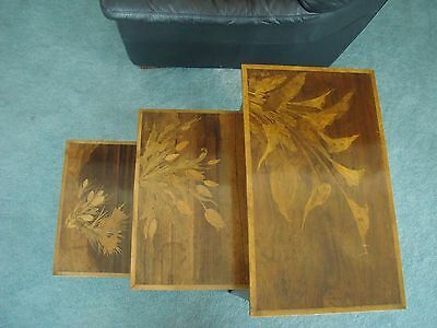 Emile Galle - Nest of 3 Marquerty Inlay Antique Tables Signed
