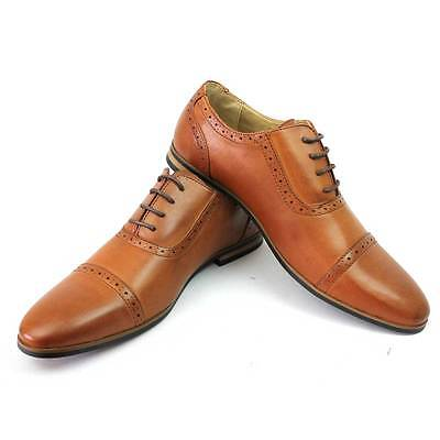 New Men's Cognac Cap Toe Detailed Perforation Dress Shoes Modern Oxfords ByAzar