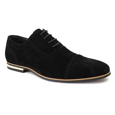 New Men's Black Suede Cap Toe Detailed Perforation Dress Shoes Modern By Azar