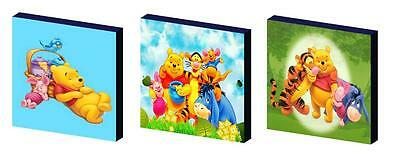 WINNIE THE POOH pooh bear bright CANVAS ART BLOCKS/ WALL ART PLAQUES/PICTURES