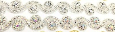 1 Yard Diamante Bridal Rhinestone Belt Bridal lace Trim for Wedding Dresses