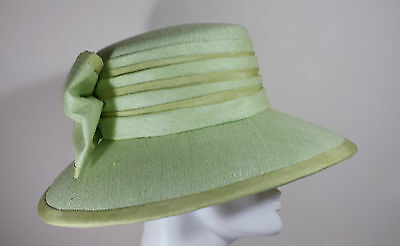 Pale Green Vintage Handcrafted Ladies Hat With Large Brim And Bow Size Small