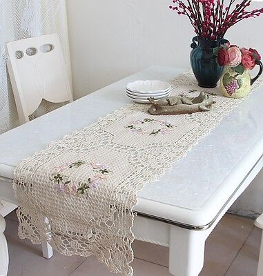 Pretty Hand Silk Ribbon Flower Embroidery Crochet Lace Insertion Table Runner L