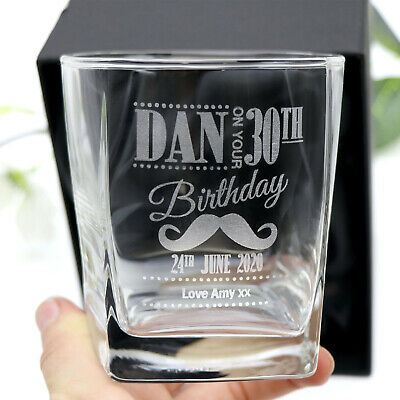 Personalised Engraved Scotch Glass Birthday 18th 21st 40th Gift Whiskey Bourbon