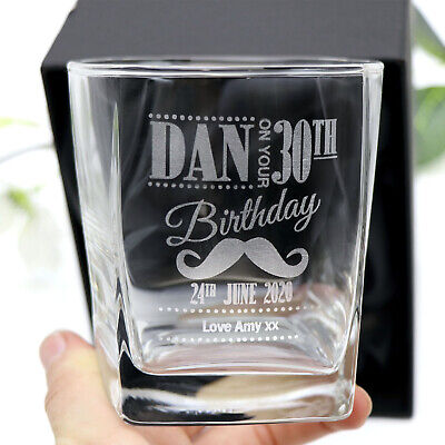 Personalised Engraved Scotch Whiskey Glass 18th 21st 40th Any Age Birthday Gift
