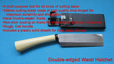 Waist Hatchet Axe,Japanese Knife,White steel Cutting,double-edged, Blade 185mm