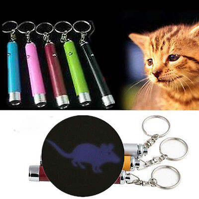 1X Interactive Led Training Funny Cat Play Toy Laser Pointer Pen Mouse Animation