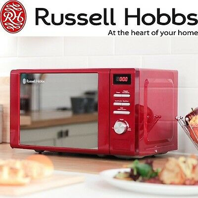 20 Litre Red Microwave Oven Digital Kitchen Appliance Defrost & 5 Power Levels