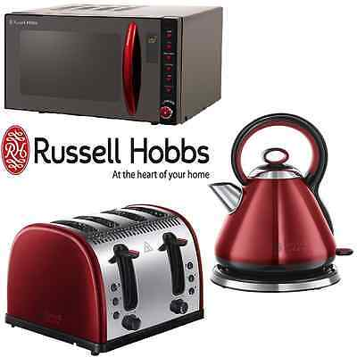 Black & Red Russell Hobbs Microwave Kettle Toaster Kitchen Set Bundle 3 Pack NEW