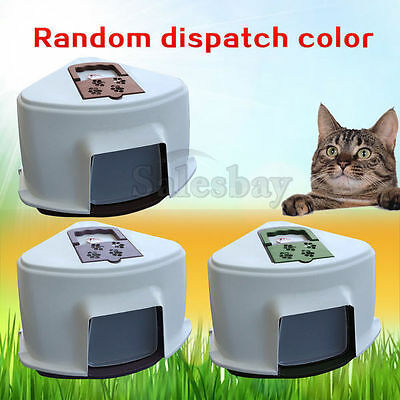 Portable Hooded Cat Toilet Litter Box Tray House With Handle and Scoop