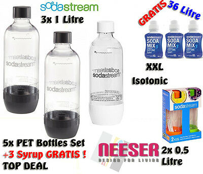 Sodastream 3 bottle 1 Litre + 2x 0,5 L for Water maker 3 XXL Sirup ISOTONIC FREE