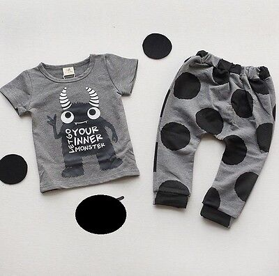 Baby Boy Toddler Monster Spots Top Leggings Set Outfit Cotton Age 18M~5Y BNWT