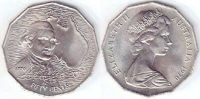 Australian fifty cent 50c coin 1970  CAPTAIN COOK DISCOVERY - circulated