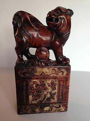 Asian Chinese Stone Carved Foo Fu Dog  Lion Statue Figurine STAMP SEAL  Bottom